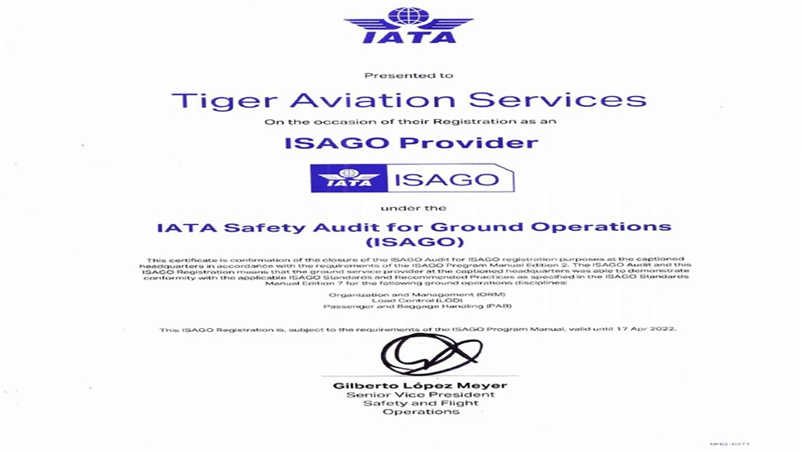 TAS Recieves ISAGO Certificate